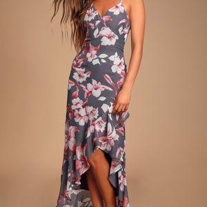 Lulu's gray pink ruffle maxi dress small